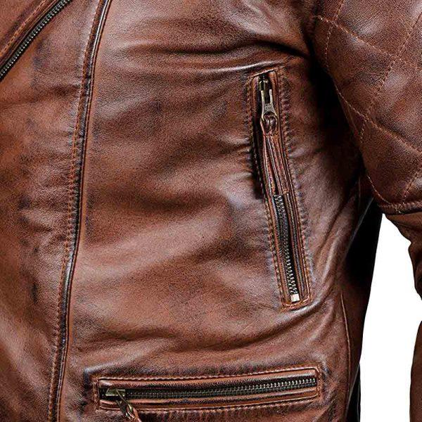 distressed brown leather motorcycle jacket