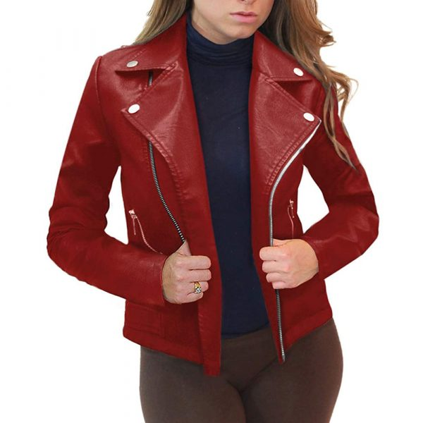 red leather moto jacket women's