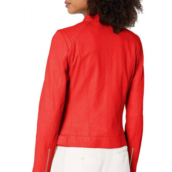 red quilted leather moto jacket