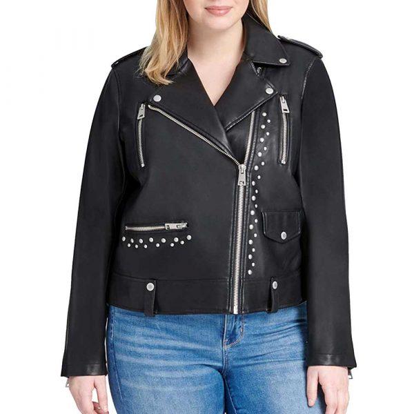 studded leather jacket womens