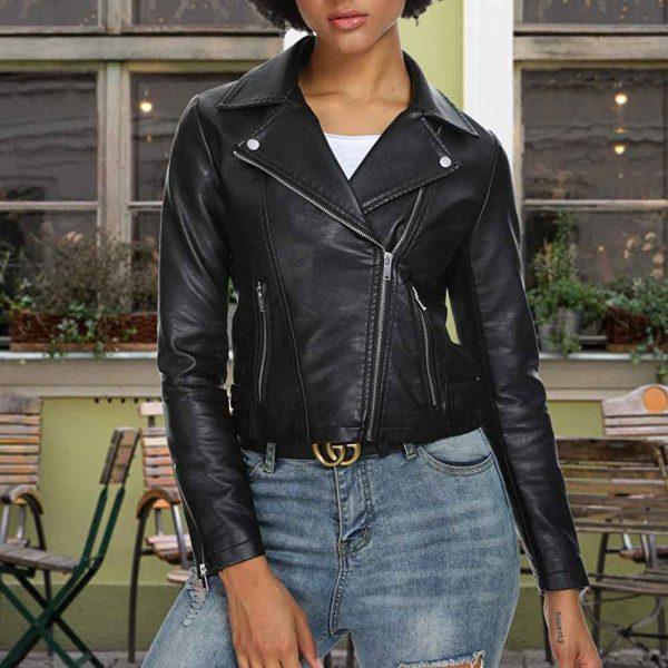 Women's Black Genuine Leather Motorcycle Jacket