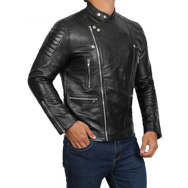 Austin black distressed motorcycle leather jacket men