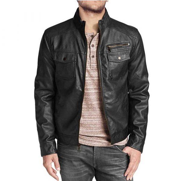 Black Flap Pockets Lambskin Leather Biker Jacket Mens