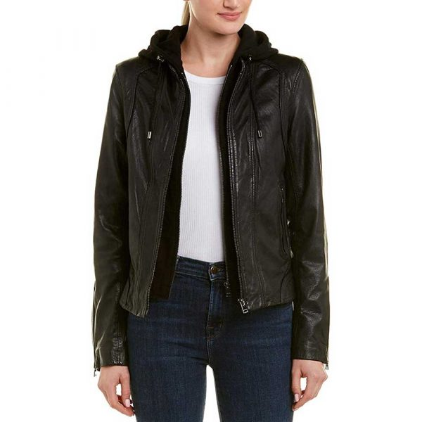 Black leather biker jacket with removable hood womens