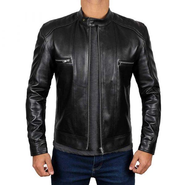 Luis Black Real Lambskin Leather Moto Biker Jacket Menr Jacket Men