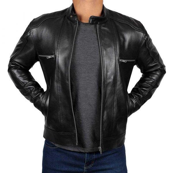 Luis Black Real Lambskin Leather Moto Biker Jacket Men