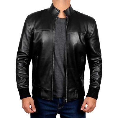 Clark Black Motorcycle Leather Bomber Jackets Men's