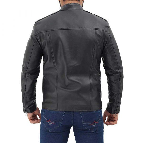 Clinton Black Real Lambskin Leather Moto Biker Jacket Men