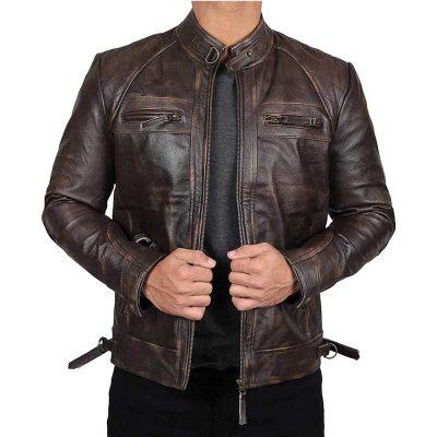 Dark brown cafe racer leather jacket men