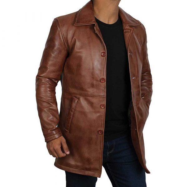 Brown Distressed Real Lambskin Leather Jacket Coat for Men