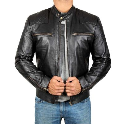 David Beckham Black Real Lambskin Leather Moto Biker Jacket Men