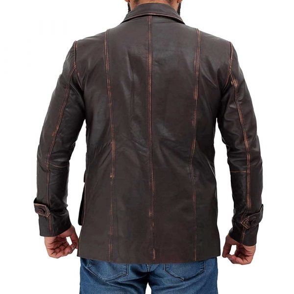 Distressed long brown leather jacket coat mens