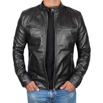 Dodge black fitted real leather biker jacket for men's