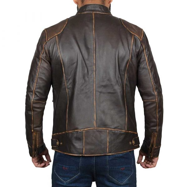 Dodge Brown Fitted Real Leather Biker Jacket for Mens
