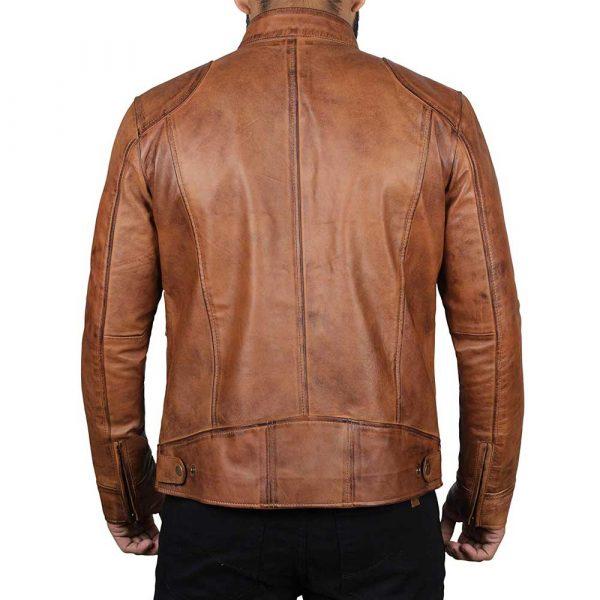 Dodge tan fitted real leather biker jacket men