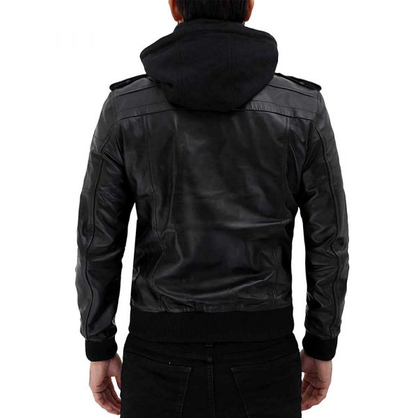 Edinburgh Black Leather Bomber Jacket With Removable Hood Men