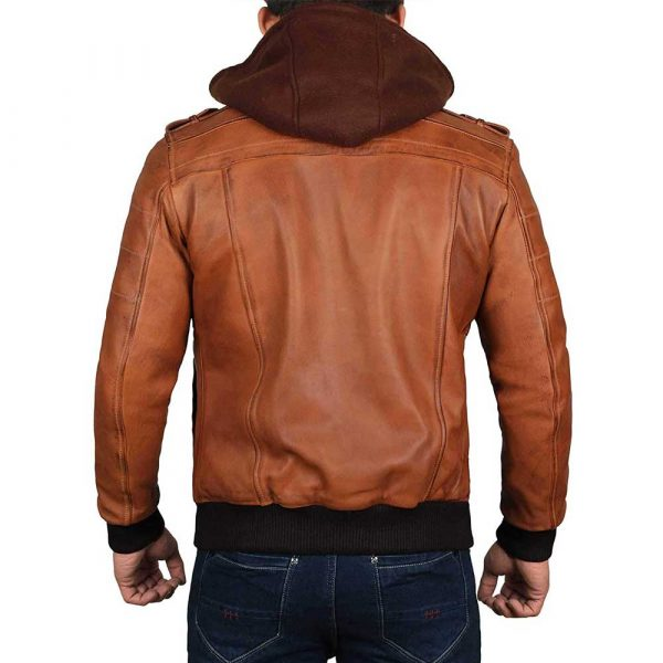 Edinburgh Brown Leather Bomber Jacket With Removable Hood Men