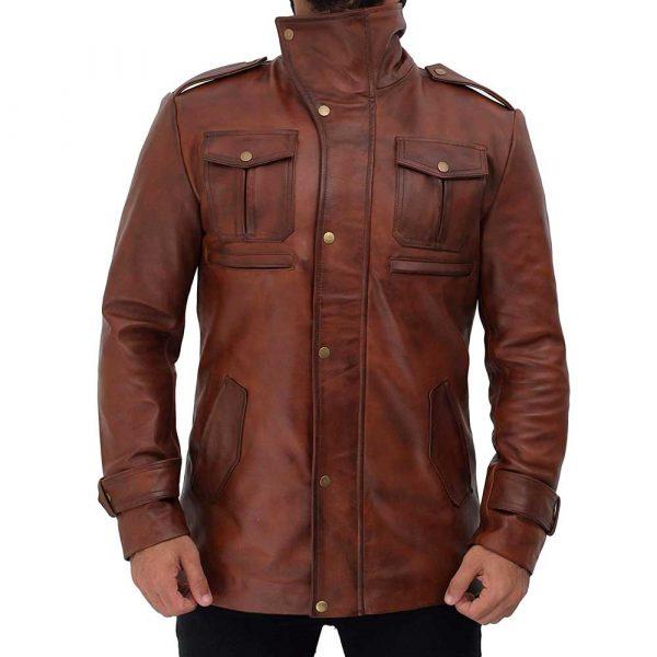 Giltner Brown Real Lambskin Leather Moto Biker Jacket Coat