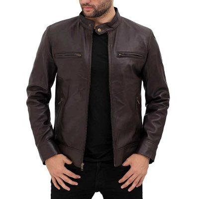Jasoon Beghe Brown Real Lambskin Leather Moto Biker jacket Men