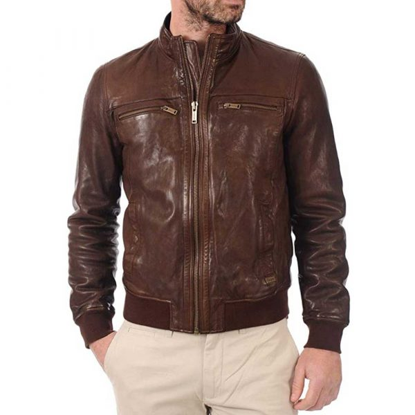 John Hunter Men's Brown Lambskin Leather Bomber Motorcycle Jacket