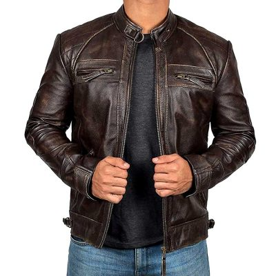 Johnson Brown Quilted Leather Cafe Racer Jacket Men