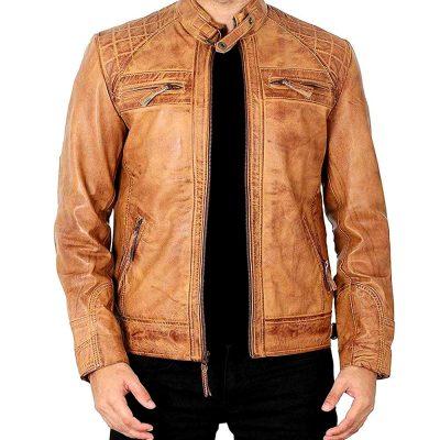 Johnson Camel brown quilted leather cafe racer jacket men