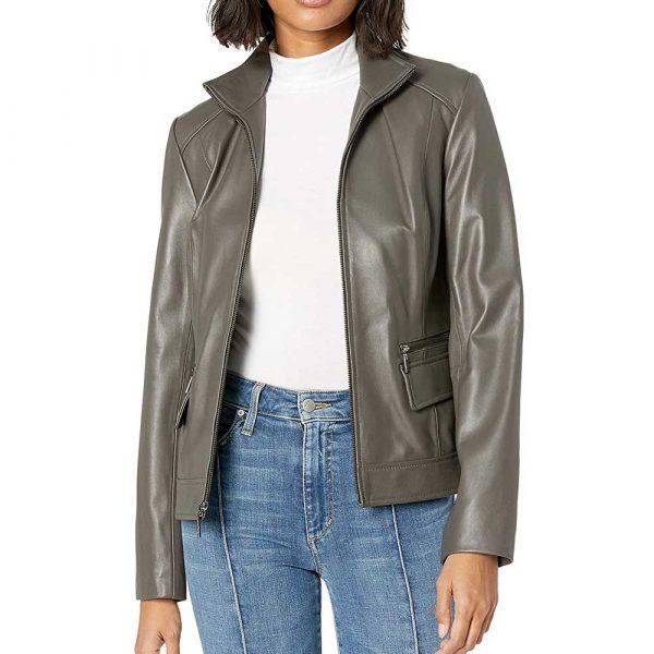 Mark Grey Wing Collar Grey Leather Jacket Women's
