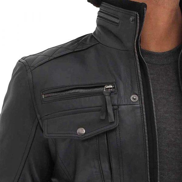 Moffit black leather motorcycle jacket men