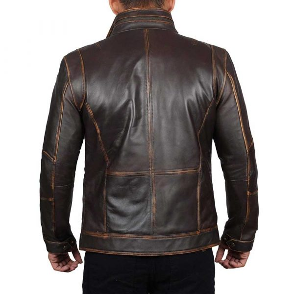 Moffit brown distressed motorcycle leather jacket men