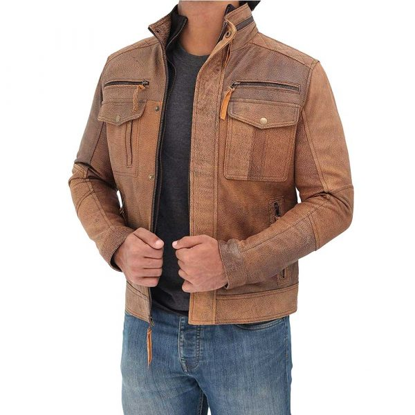 Moffit light brown distressed style leather motorcycle jacket men
