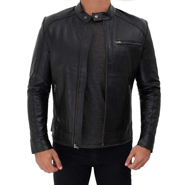 Peter Black Biker Leather Jackets With Stripes on Sleeves