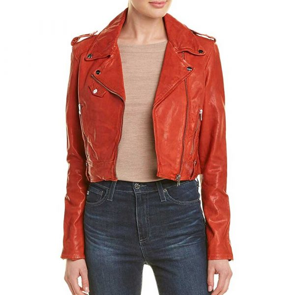 Red crop leather biker jacket womens