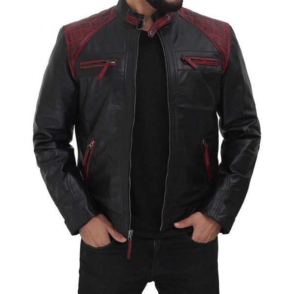 Rollins Black and Maroon Lambskin Leather Moto Biker Jacket Men