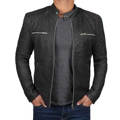 Steve rogers Biker style black vintage leather jacket men