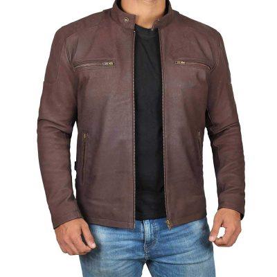 Steve rogers Biker style brown vintage leather jacket for men's