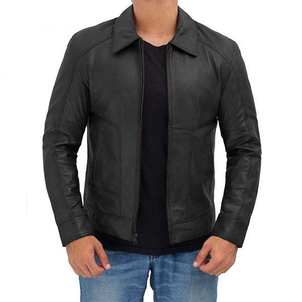Thomas Black Real Lambskin Leather Moto Biker Jacket Men