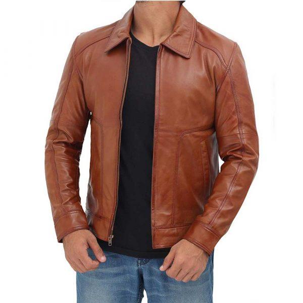 Thomas Tan Real Lambskin Leather Moto Biker Jacket Men
