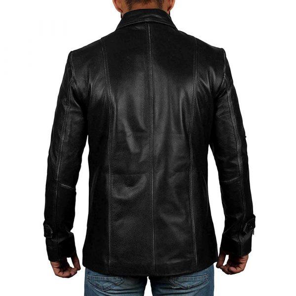 Thomas Vintage Style Long Black Leather Jacket Coat Mens