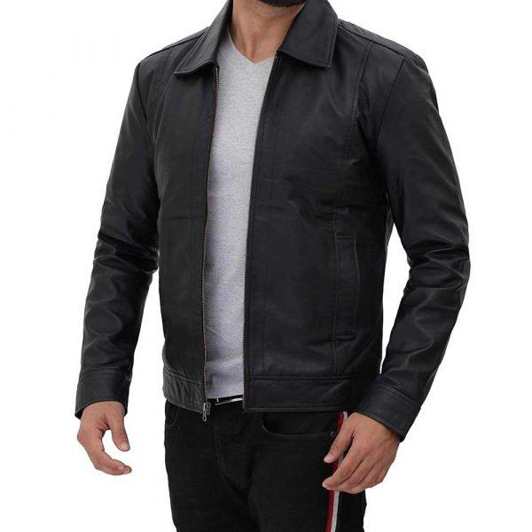Winick Black Real Lambskin Leather Moto Biker Jacket Men