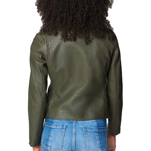 Women Asymmetrical Olive Green Motorcycle Leather Jacket