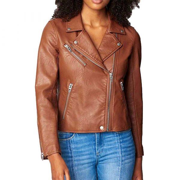 Brown asymmetrical motorcycle leather jacket Women