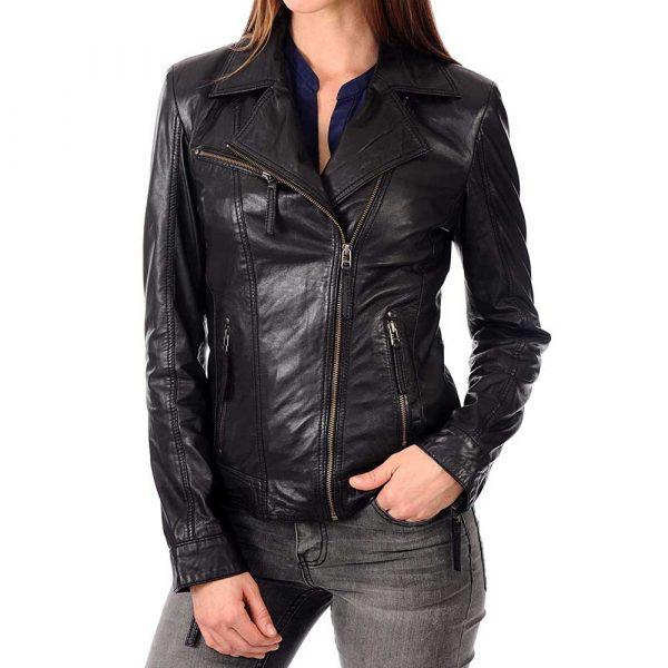 Women's black lambskin leather biker jacket