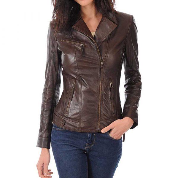 women's brown lambskin leather biker jacket