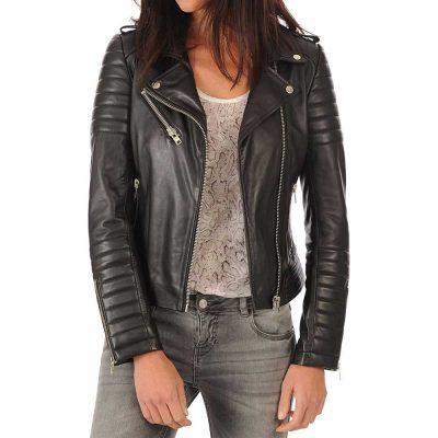 Women's genuine black Lambskin Leather Biker Jacket