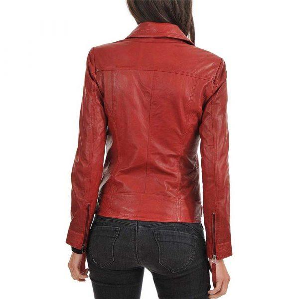 women's red lambskin leather biker jacket