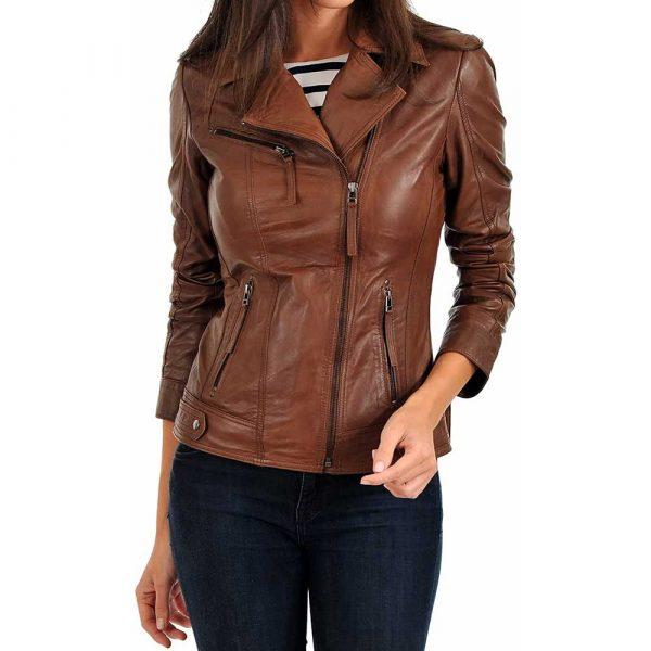 women's tan lambskin leather biker jacket